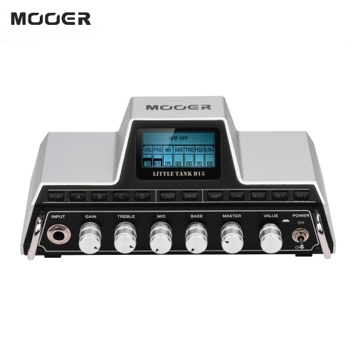 MOOER Little Tank D15 Modeling Mini Guitar Amplifier Head 25 Amp Models 20 Cabinet Models Modulation Delay Reverb Effects Built-in Guitar Tuner
