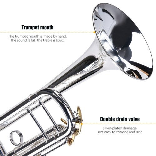 ammoon Prefessional Bb Trumpet Brass Material Silver-Plated Surface Beautiful Shell Buttons Wind Instrument with 5C Mouthpiece Carry Bag Gloves Cleaning Cloth