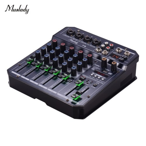 Muslady T6 Portable 6-Channel Sound Card Mixing Console Audio Mixer Built-in 16 DSP 48V Phantom power Supports BT Connection MP3 Player Recording Function 5V power Supply for DJ Network Live Broadcast Karaoke