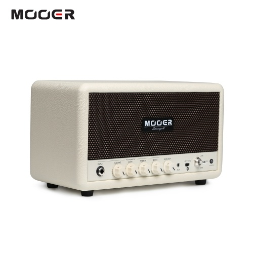MOOER SilverEye 10 Desktop Setero HiFi Bluetooth Speaker Instrument Guitar Bass Amplifier 2 * 16W with Volume/Gain/Treble/Bass Control Knobs 1/4 Inch & 1/8 Inch Input Jacks