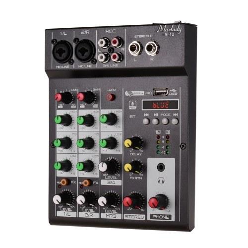 Muslady M-4U Tragbarer digitaler 4-Kanal-BT-Mischpult Digital Audio Mixer