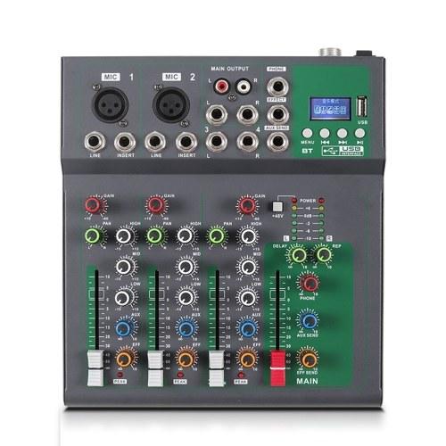 Console de mixage portable 4 canaux mélangeur audio numérique
