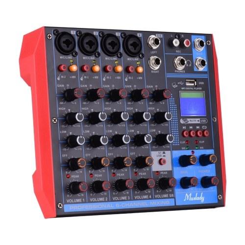 Muslady AG-6 Tragbarer 6-Kanal-Mischpult Digitaler Audiomischer + 48-V-Phantomspeisung Unterstützt BT / USB / MP3-Verbindung