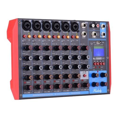 Muslady AG-8 Tragbarer 8-Kanal-Mischpult Digitaler Audiomischer + 48-V-Phantomspeisung Unterstützt BT / USB / MP3-Verbindung