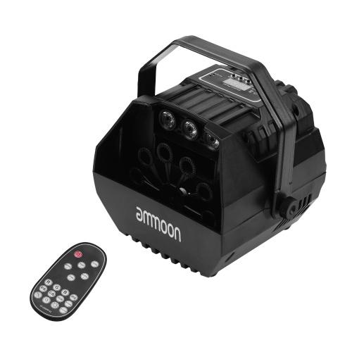 ammoon LED Bubble Machine Projektor Sound Aktiviert mit U-förmiger Grifffernbedienung für Bühnenhochzeitsdekoration
