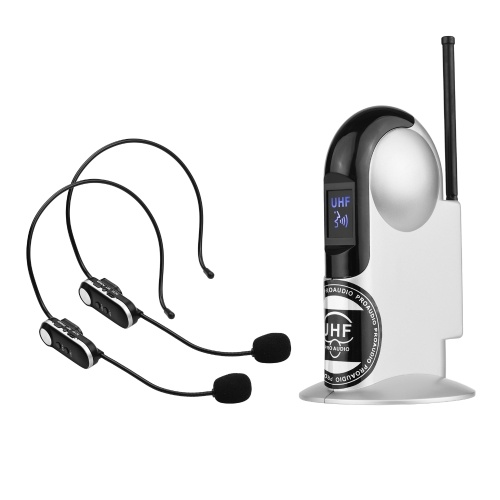 UHF Wireless Microphone System with Dual Headset Microphones and Receiver with 6.35mm Audio Cable