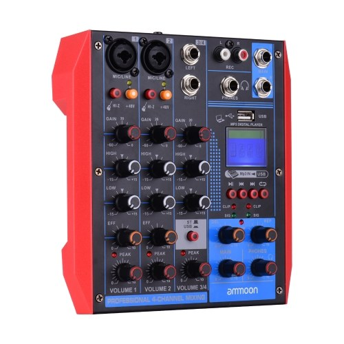 ammoon AG-4 Portable 4-Channel Mixing Console Digital Audio Mixer