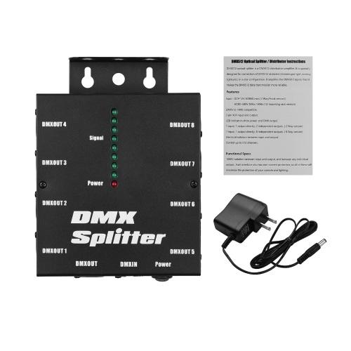 DMX512 Spliter-Verteiler für optische Signalverstärker 1 Direkter Ein- und Ausgang 8 Unabhängige Ausgänge
