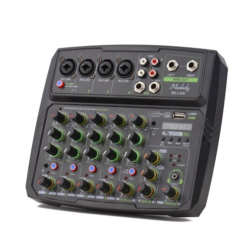 Schermo LED della console di missaggio del mixer audio a 6 canali Muslady