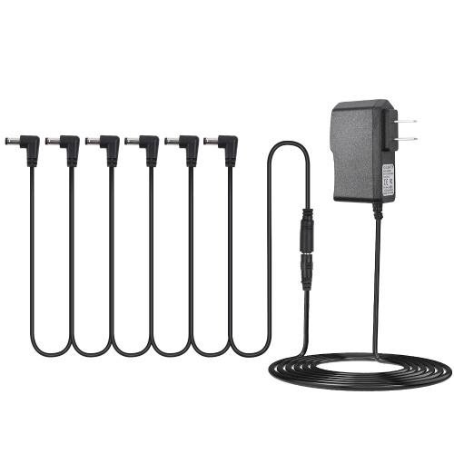 Netzteiladapter für Gitarreneffektpedal mit 6-Wege-Daisy-Chain-Kabel-Stromleitung im rechten Winkel