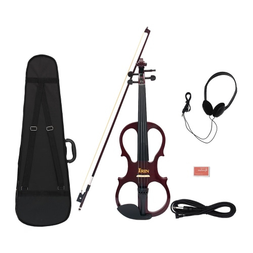 4/4ウッドメープル製のエレクトバイオリン フィドル弦楽器 黒檀の部品ケーブルヘッドホンケース 音楽愛好家/初心者  のために適用 ブラック