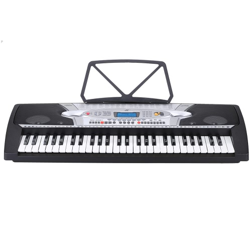 54 Keys Multifunction Teaching-Type Electronic Keyboard LCD Display Electronic Piano Organ with Music Stand & Microphone