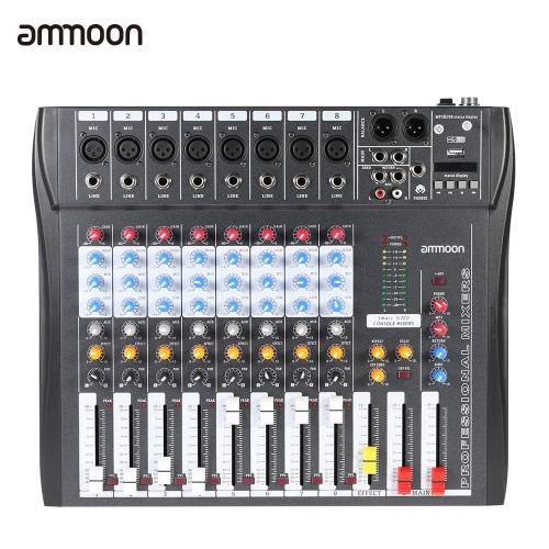 ammoon CT80S USB 8 チャンネル デジタル マイク ライン オーディオ ミキサー ミキサー録音 DJ ステージ カラオケ音楽鑑賞のための 48 v ファンタム電源と