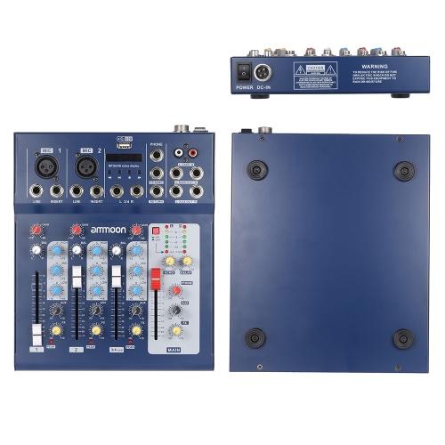 ammoon F4 USB 3 チャンネル デジタル マイク ライン オーディオ ミキサー ミキサー録音 DJ ステージ カラオケ音楽鑑賞のための 48 v ファンタム電源と