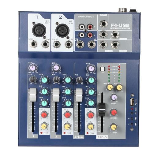 プロフェッショナルメタル4チャンネルライブミキサーミキシングコンソール3バンドEQ USB機能48Vファンタム、ブリューインエフェクトプロセッサーマイク入力