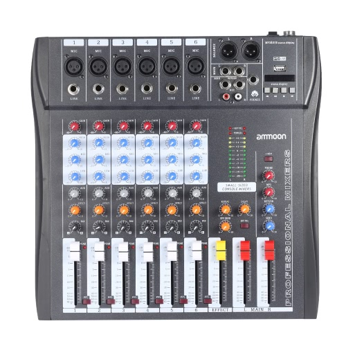 ammoon 60-USB 6 canais Mic Audio Mixer Mixing Console 3-band EQ USB XLR entrada 48V Phantom Power com adaptador de energia
