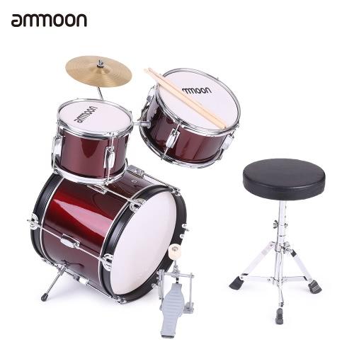 andreagiallorosso 3 pezzi bambini bambini Junior Drum Set batteria Kit strumento musicale di percussione con piatti bacchette Sgabello regolabile