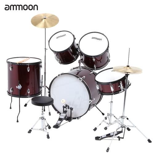 ammoon 5 枚完全アダルト ドラム セットばちシンバル スタンド調節可能なスツールとドラム キット パーカッション楽器
