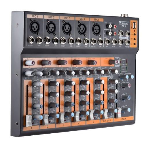 Tragbarer 7-Kanal Mic Line-Audio-Mixer Mischpult 3-Band EQ USB-Schnittstelle 48V Phantomspeisung mit Netzteil