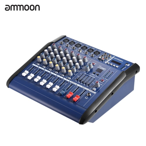 ammoon 6 Channels Digital Mic Line Audio Mixing Console Power Mixer Amplifier with 48V Phantom Power USB/ SD Slot for Recording DJ Stage Karaoke