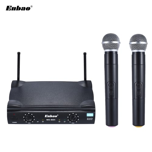 Enbao MD-82X UHF Wireless Handheld Dual Microphone System 2 Microphones Mic Receiver 6.35mm Audio Cable AC Adapter - Easy Setup - for Karaoke Performance Presentation Public Address