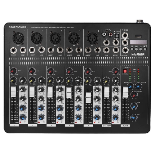 Professionelle Bluetooth 7-Kanal Mic Line-Audio-Mixer Mischpult mit 3-Band EQ 48V Phantom Power-USB-Schnittstelle