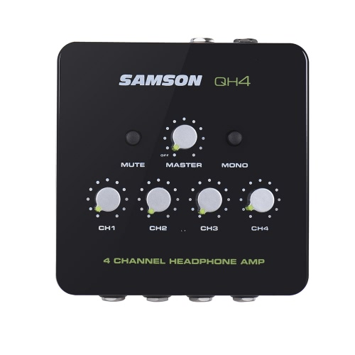 SAMSON QH4 Ultra-compact 4-Channel Mini Audio Stereo DJ Monitoring Headphone Amplifer Amp with Power Adapter