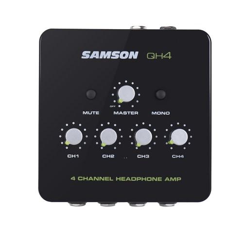 SAMSON QH4 Amplificatore Amplificatore per cuffie stereo a ultrasuoni a 4 canali mini audio con adattatore di potenza