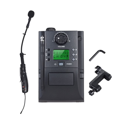 Portable UHF Instrument Wireless Microphone System with Receiver & Transmitter 32 Channels for Violin
