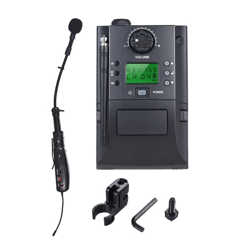 Portable UHF Instrument Wireless Microphone System with Receiver & Transmitter 32 Channels for Sax Saxophone