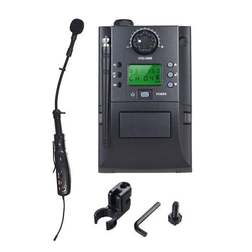 Sistema de micrófono inalámbrico de instrumento UHF portátil con receptor y transmisor 32 canales para saxofón saxofón