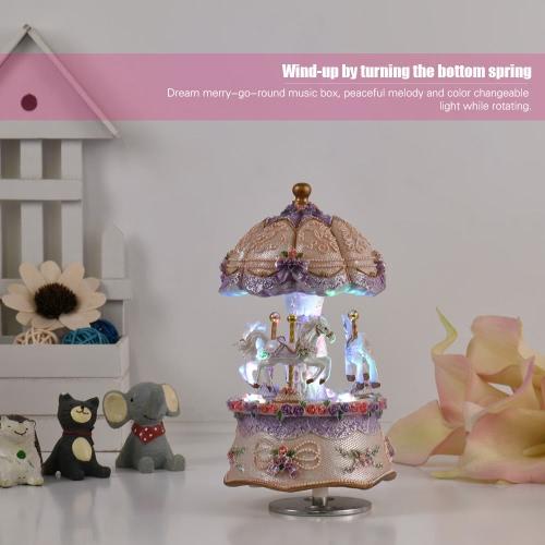 Luxury Dream 3-Horse Rotating Carousel Merry-go-round Windup Music Box I3022PU