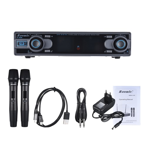 Baomic D-332 Professional Dual Channel UHF Digital Wireless Handheld Microphone System