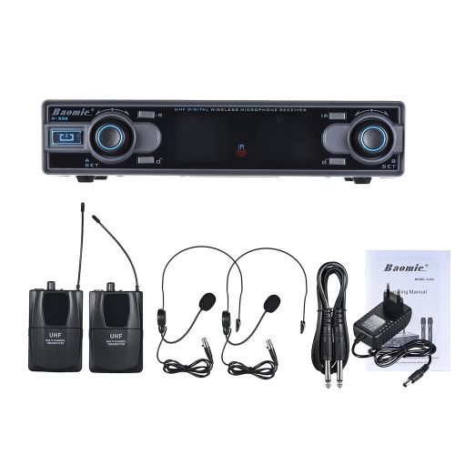 Baomic D-332 Professionale Dual Channel UHF Digital Wireless Headset Microfono Sistema