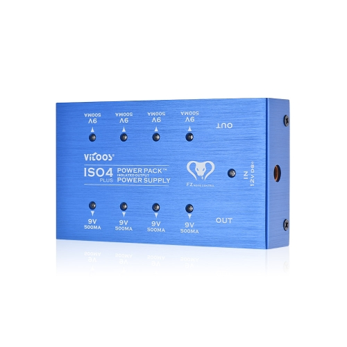 VITOOS ISO4PLUS Compact Gitarren Effekte Netzteil Power Pack Station 8 Isolierte DC 9V Ausgänge max. 500mA mit Kurzschlussschutz
