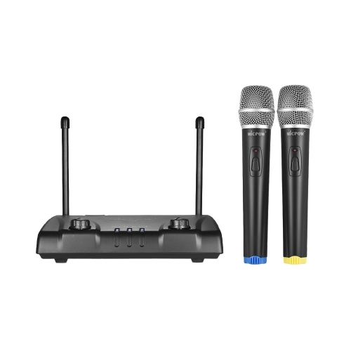 MICPOW W-10 VHF Dual Channel Wireless Microphone Mic System with 2 Handheld Microphones + 1 Receiver for Karaoke Classroom Teaching Home Entertainment