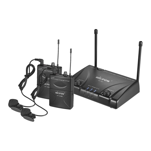 MICPOW W-10 VHF Dual Channel Wireless Microphone Mic System for Business Meeting Public Speech Classroom Teaching