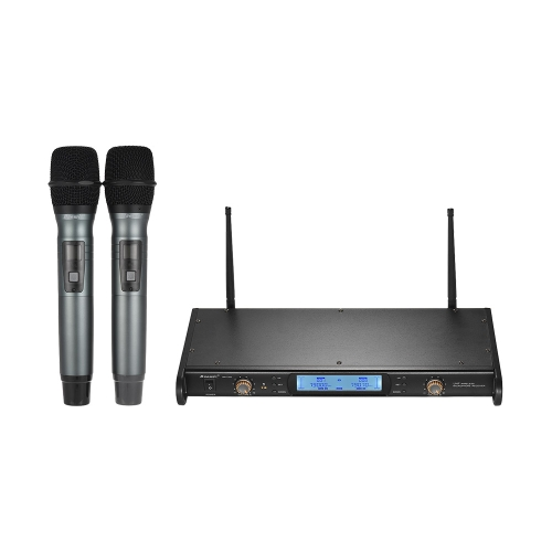 Baomic BM-7200 UHF Wireless Microphone System 2 Microfoni palmari + 1 ricevitore con display LCD per Karaoke Business Meeting Speech Home Entertainment