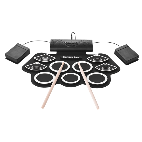 Portable Electronic Drum Kit Hand Roll Drum Set 9 Silicon Pads Built-in Stereo Speaker 1000mA Lithium Battery with Drumsticks Foot Pedals 3.5mm Audio Cable