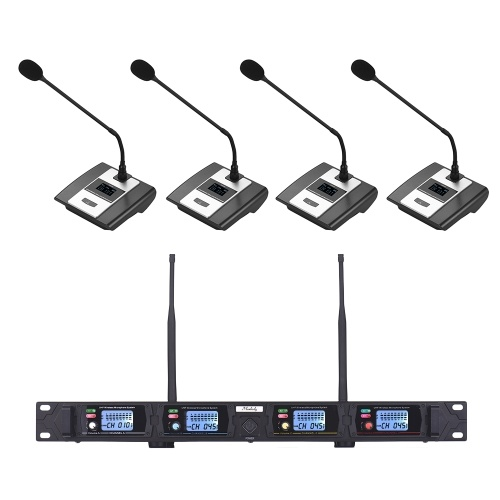 Muslady D2 Professional 4-Channel UHF Wireless Conference Microphone System