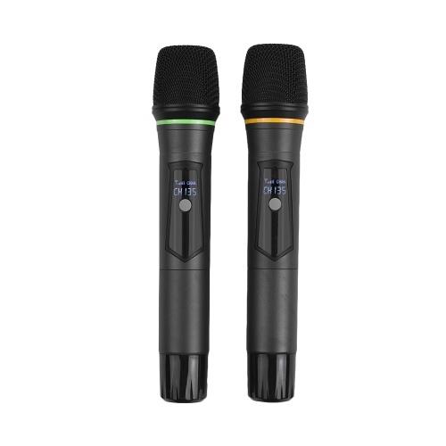 El sistema de micrófono inalámbrico UHF profesional de 4 canales Muslady D4-4 incluye 2 micrófonos de auriculares con transmisores de cuerpo + 2 micrófonos de mano + 1 receptor de montaje en bastidor para reuniones de negocios Enseñanza de aula de discurso público