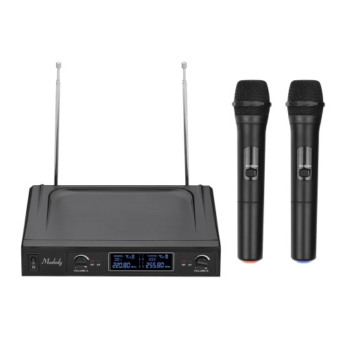 Muslady V1 VHF Wireless Microphone System 2 Microfoni palmari e 1 ricevitore con display LCD per Karaoke Home Entertainment Business Meeting Speech Classroom Insegnamento