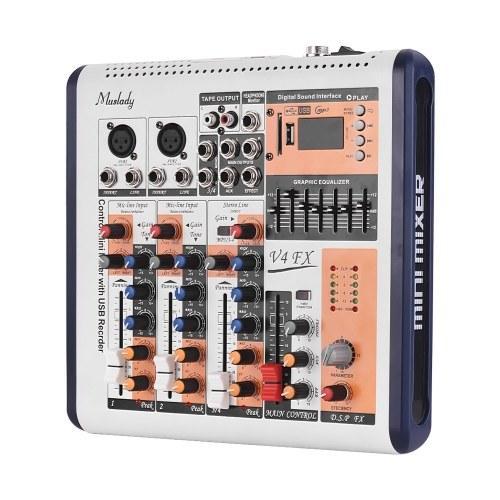 4-канальная портативная микшерская консоль Muslady V4-FX Встроенный 16 DSP-эффектов + фантомное питание 48 В Поддерживает соединение BT с адаптером питания для записи в студии