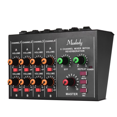 Muslady M-228A Tamanho Compacto 8 canais Mono / Stereo Audio Mixer de Som com Função de Reverberação 60Hz Frequency Cutting