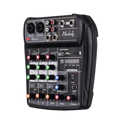 Muslady AI-4 Tarjeta de sonido compacta Consola de mezclas Mezclador de audio digital 4 canales BT MP3 Entrada USB + 48V Phantom Power