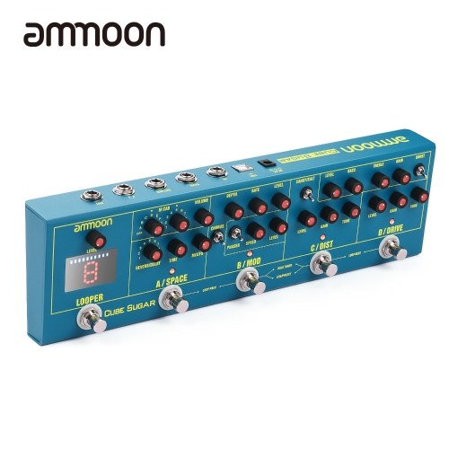 ammoon CUBE SUGAR Combined Effects Pedal 5 Analog Effects(Boost/Overdive/Distortion/Chorus/Phaser) + 2 Digital Effects( Delay/Reverb) + 72 IR Cabinets Simulation + 9 Loops +   Built-in Tuner with Headphone Output Live/Preset Working Modes