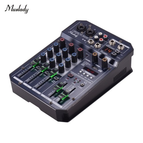 Muslady T4 Portable 4-Channel Sound Card Mixing Console Audio Mixer Built-in 16 DSP 48V Phantom power Supports BT Connection MP3 Player Recording Function 5V power Supply for DJ Network Live Broadcast Karaoke
