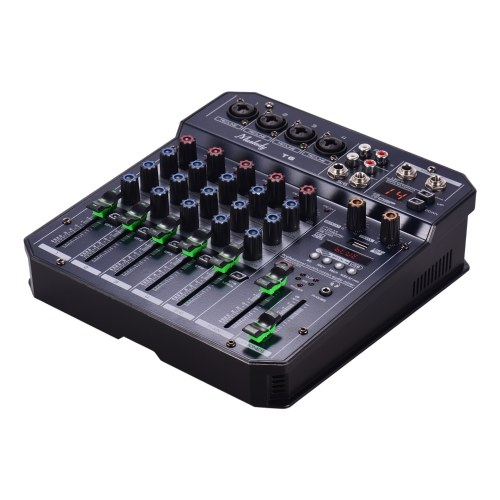 Muslady T6 Portable 6-Channel Sound Card Mixing Console Mixer Audio Built-in 16 DSP 48V Phantom power Support BT Connection MP3 Player Recording Function 5V power supply for DJ Network Live Broadcast Karaoke