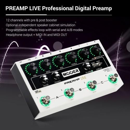 MOOER PREAMP LIVE Профессиональный цифровой предусилитель Педальный предусилитель12 каналов 3-полосный усилитель эквалайзера до и после усилителя Кабельное имитационное моделирование с выходом MIDI IN / OUT XLR фото