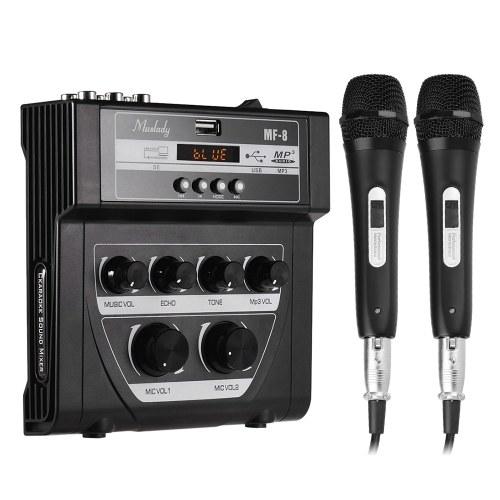 Muslady MF-8 Mixer audio Mini Mixer stereo Eco Eco Ingressi Dual Mic Supporto registrazione BT Funzione MP3